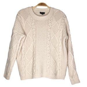 Topshop Crew neck Knit Women's Sweater in Cream